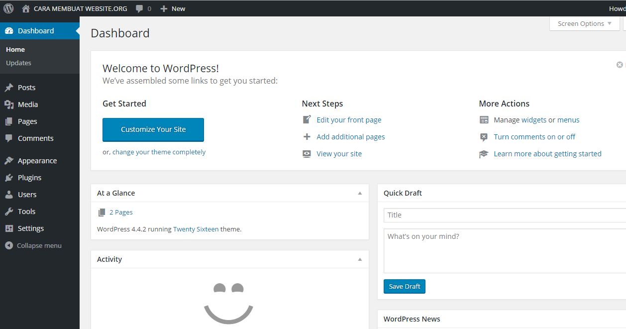 dashboard website wordpress