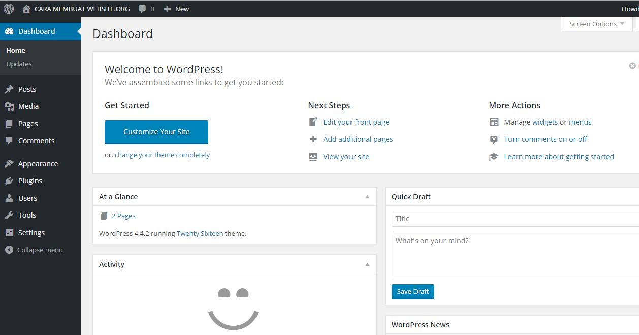 dashboard website wordpress