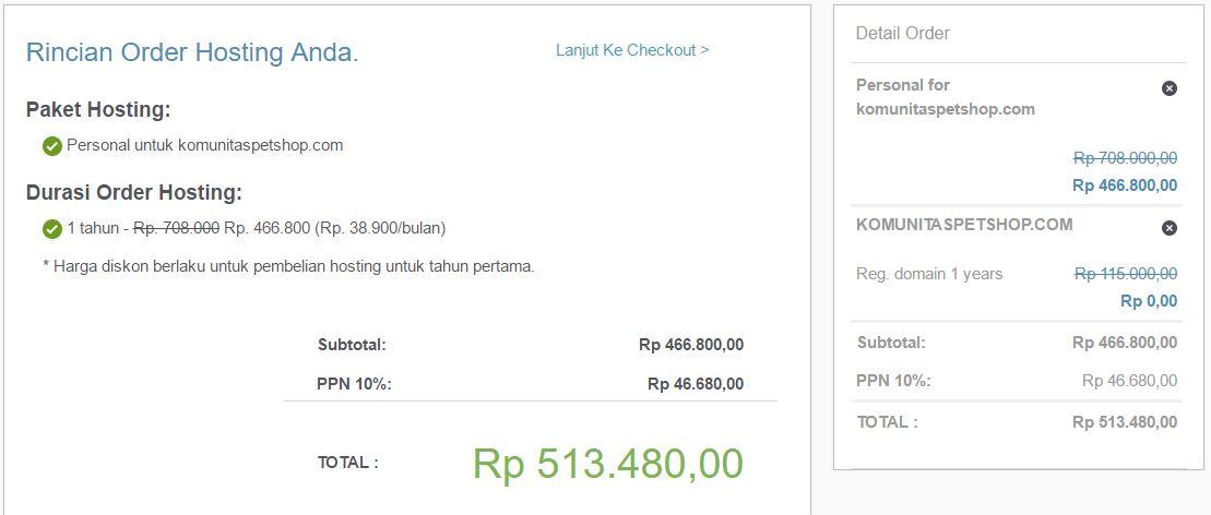 rincian pembelian hosting